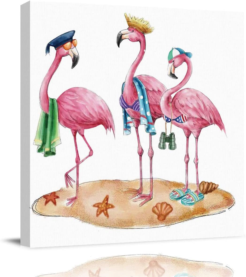 Wall Decor Framed Canvas Art Prints Funny Cartoon Flamingo with Hat on Beach Pictures Posters Modern Artwork Paintings Home Wall Decoration for Bedroom Living Room 12