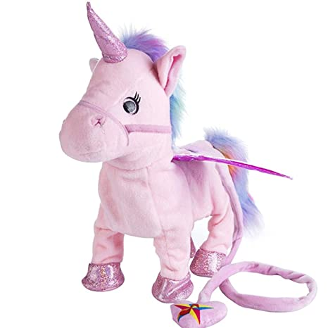 JEWH Electric Walking Unicorn - Plush Toy, Stuffed Animal Toy - Electronic Music Unicorn Toy