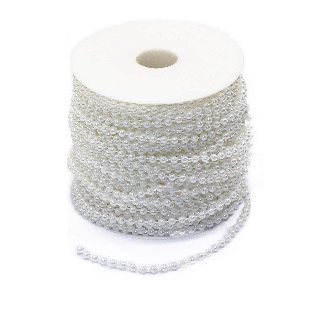 Tang Song 4mm Pearl Beads Cotton Line Chain 40m/1574'' /130ft Pearl Trim Garland Strands String Faux Crystal Bead for DIY Flower Accessories Christmas Cheer Wedding Party Home Decoration Craft(White)