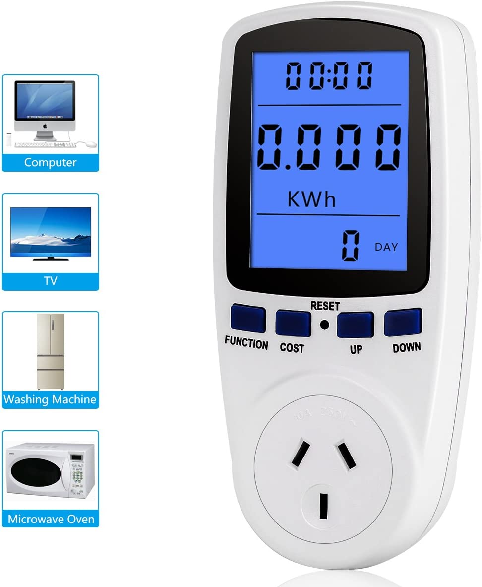 PUSOKEI Extension Cord Home Electrical Analyzer, Electricity Usage Monitor Power Meter Plug, Home Energy Watt Volt Amps KWH Consumption Analyzer