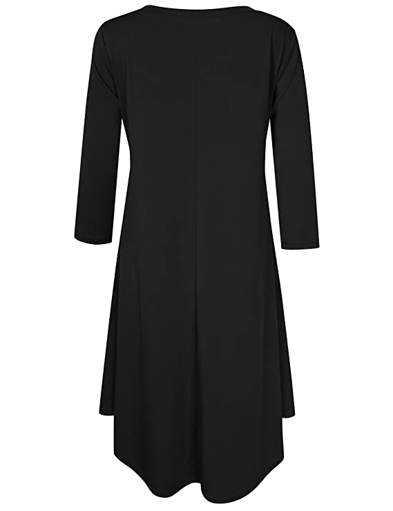 7716ab8bf Yiwa Women Plus Size Scoop Neck 3/4 Sleeve Loose Fit Casual Swing Midi  Dresses at Amazon Women's Clothing store: