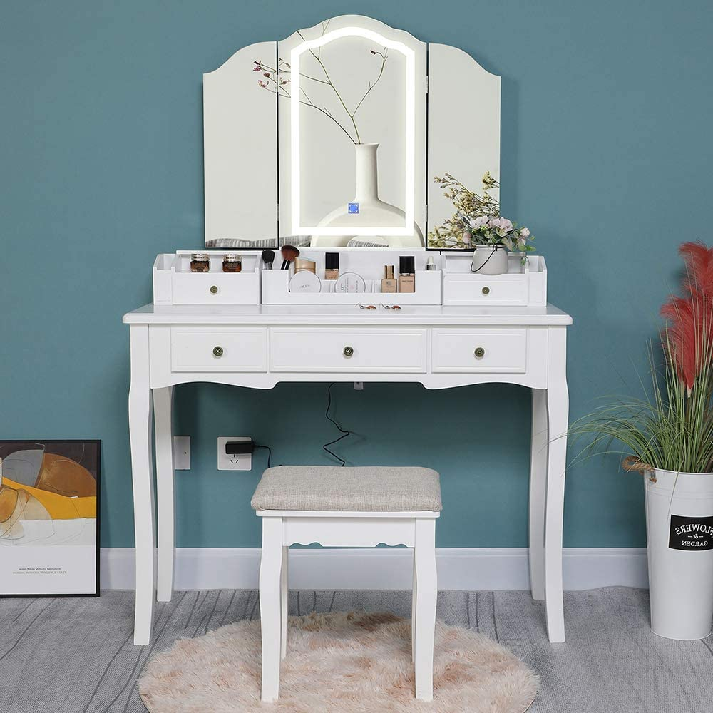 Iwell Large Vanity Table Set with Tri-Folding Lighted Mirror, 5 Drawers, Makeup Vanity Dressing Table with Cushioned Vanity Stool, Gift for Girls, Women, Bedroom, Bathroom, White
