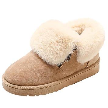 QUICKLYLY Botas De Nieve Mujer,Botines para Adulto,Zapatillas/Zapatos De Invierno Calzado De Tobillo Felpa Mantenga Cálidas con Cremallera Metálica: ...