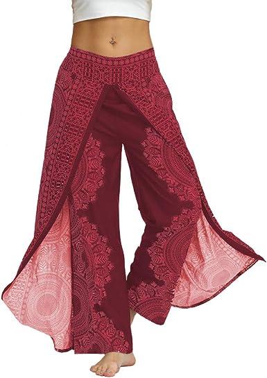 Dragon868 Pantalon De Mujer Vintage Pantalon Flare Con Abertura Pantalon Palacio Yoga Pants Transpirable Banda Elastica Brasiliana Mujer Long Pants Anchos Rosa Scuro Large X Large Amazon Es Ropa Y Accesorios