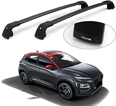 2 PCS MotorFansClub Crossbars Fit for Hyundai KONA 2018 2019 Lockable Baggage Luggage Racks Roof Racks Rail Cross Bar