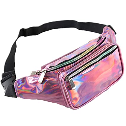 bb4176da2868 Holographic Waist Fashion Glitter Fanny Pack for Women and Men Waterproof  Travel Packs Bum Purse Bags Rave, Festival, Hiking (One Size, Pink)