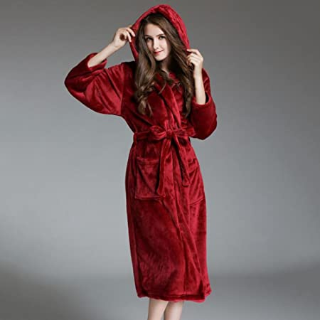 LUXURY Bathrobe Ladies Towelling Bath Robe 100% Cotton Hooded Deep Patch  Pockets Bathrobe Dressing Gown 5a2c9d5ed