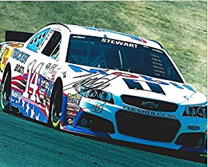 AUTOGRAPHED 2015 Tony Stewart #14 Mobil 1 Racing (Patriotic Paint Scheme) On-Track 8X10 Signed Picture NASCAR Glossy Photo with COA by Trackside Autographs