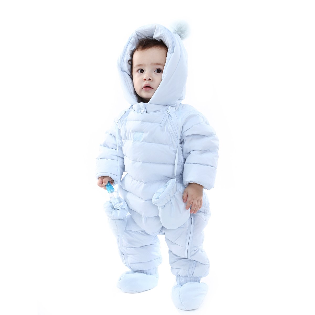 ad77282b0 Amazon.com: Bebone Newborn Baby Hooded Winter Puffer Snowsuit with Shoes  and Gloves: Clothing