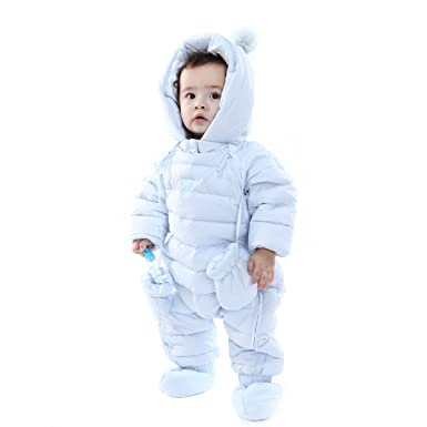 9d55fe8ff Bebone Newborn Baby Hooded Winter Puffer Snowsuit with Shoes and Gloves