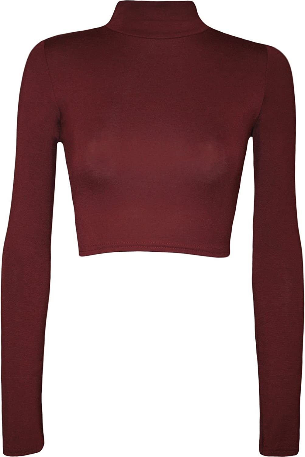 Forever Womens Beautiful Plain Polo Neck Long Sleeves Crop Top