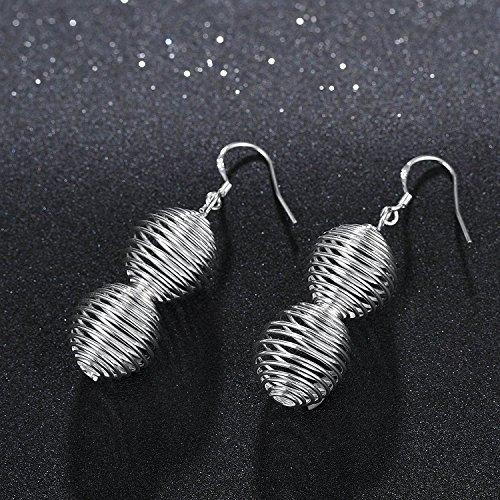 lureme®Mode Style Plaqué argent Gourd Shaped Dangle boucles d'oreilles(02005087)