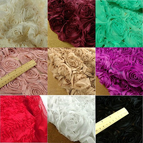 Shabby Chic Black 3D Rose Lace Fabric Flower Mesh Fabric Blossom Rosette Fabric 51 inches Wide for Wedding Dress Party Costume Craft Making Sold by 1 Yard