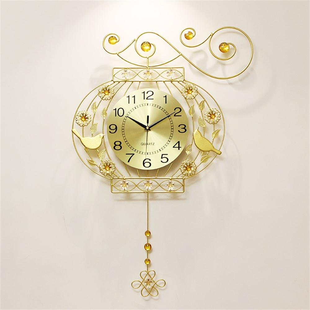 ALUPリビングルーム現代的なシンプルな牧歌的なヨーロッパスタイルクリエイティブ時計ミュートベッドルームスイングクロック B07F22Q894