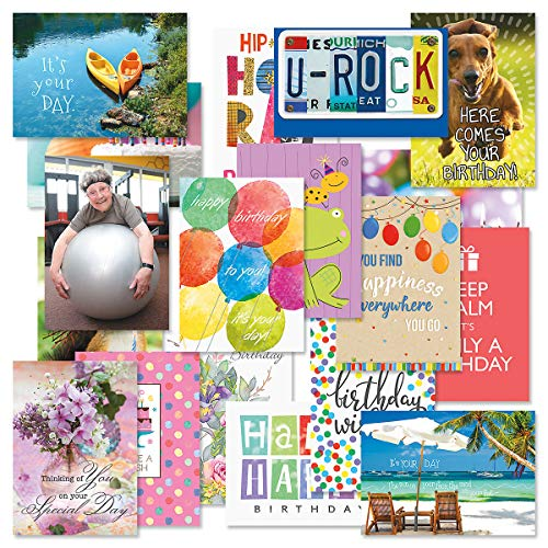 Festive Mega Birthday Greeting Card Value Pack - Set of 36 (18 Designs), Large 5 x 7 inches, Envelopes Included, by Current