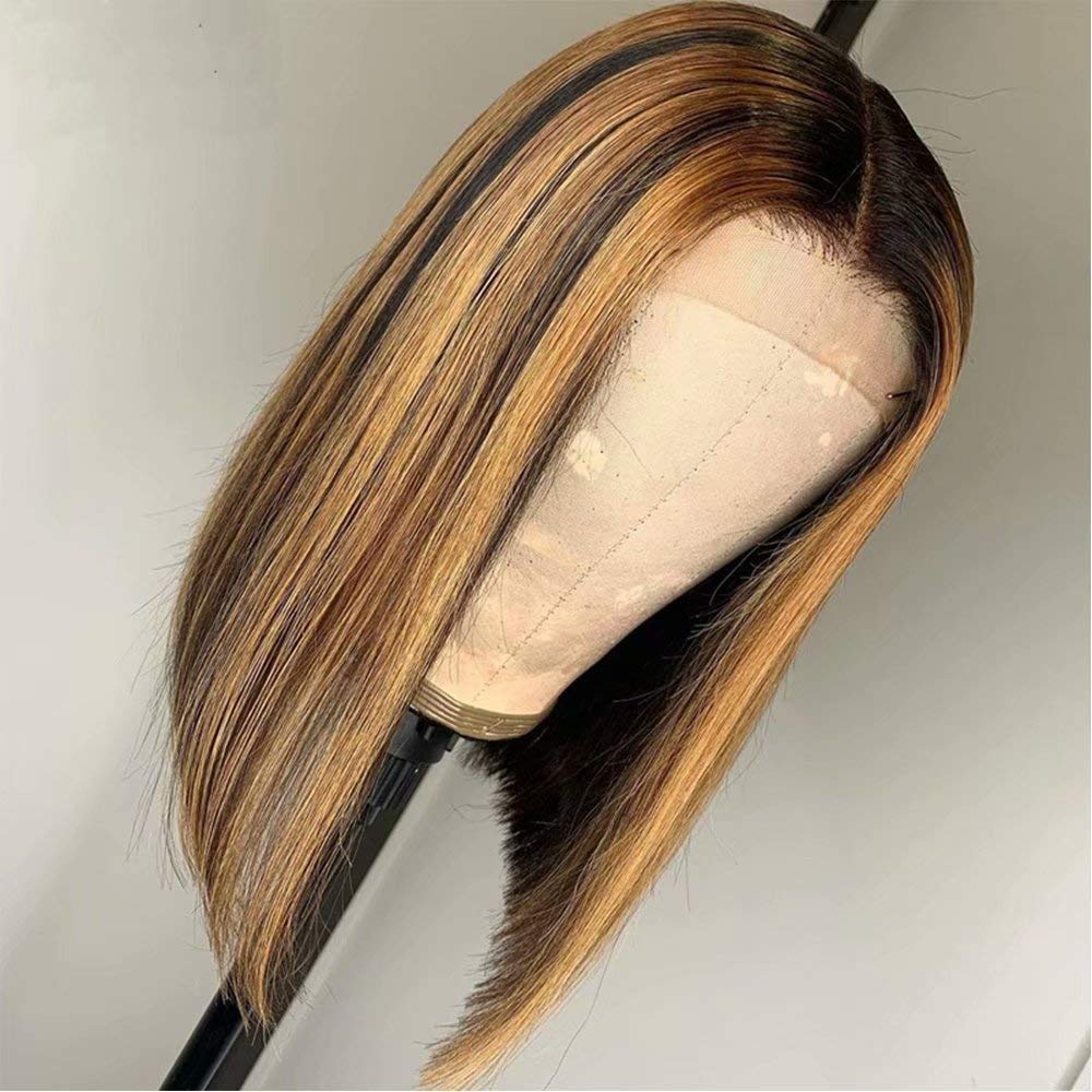 Amazon Com Ms Cassie Wigs 13x6 Lace Frontal Highlight Wig Ombre Brown Honey Blonde Short Bob Wigs For Black Women Medium Brown Lace Front Wig Colored Human Hair Wigs Pre Plucked 10 Inch