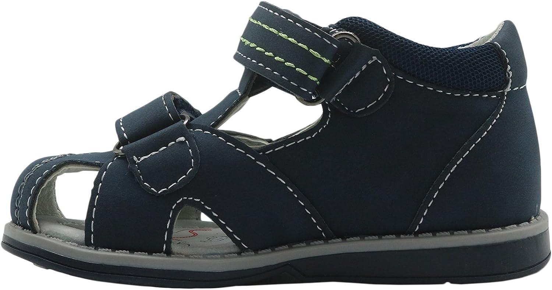 Apakowa Kids Toddler Boys Double Adjustable Strap Closed-Toe Orthopedic Sandals