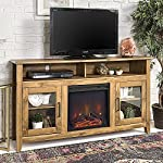 New 58 Inch Wide Highboy Fireplace Television Stand in Barnwood Finish