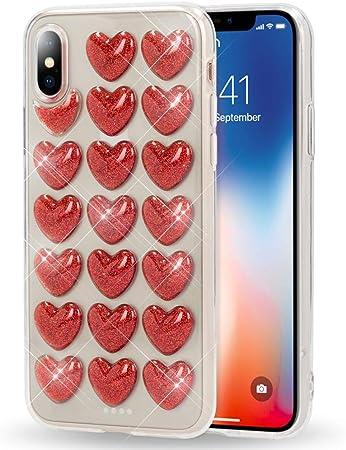 Nalia 3d Herz Hülle Kompatibel Mit Iphone X Xs Silikon Elektronik