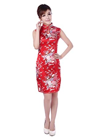bf2e0c38258 JTC Red Cheongsam Ladies Evening Dress Women Party Wedding Dress Sleeveless  Women s Qipao Flower Printed (