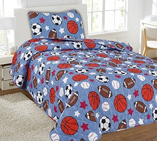 Twin Game Day Printed Quilt Bedding Bedspread Coverlet Pillow Case 2Pc by Bedding Set