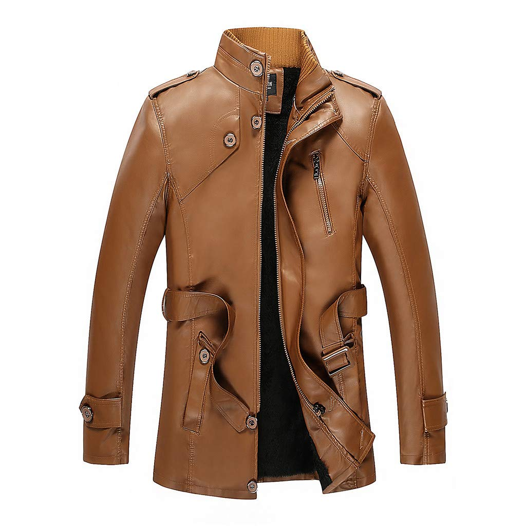 Allywit-Mens Motorcycle Biker Slim Fit Vintage Distressed Brown Cafe Racer Real Leather Jacket with Belt
