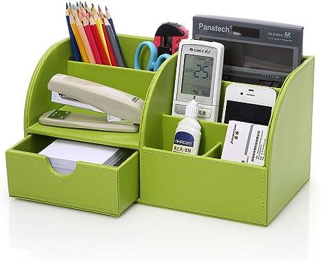 Schreibtischorganisator PU Leder 4 Speicherabteil Multifunktionale Tisch Organiser Schreibtischk/öcher f/ür B/üro und Zuhause