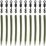 Pivots de ligne pour pêche à la carpe à changement rapide N° 8 et manchesanti-emmêlement 54mm - Lot de 100