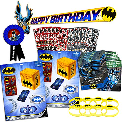 Batman Party Favors for Kids Birthday Bundle ~ 86 Pc Set Includes Batman Party Favor Boxes, Stickers, Wristbands, Banner, Invitations and More (Batman Party Supplies, Decorations)