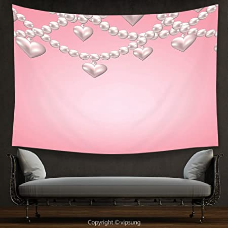 House Decor Tapestry Pearls Decoration Heart Pearl Bead Necklace ...