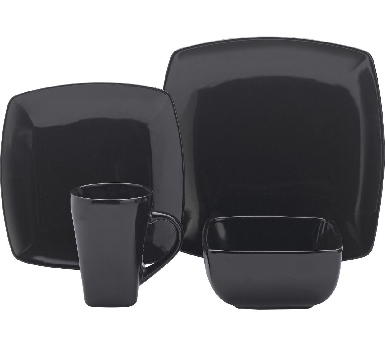 Collection 16 Piece Bosa Square Stoneware Dinner Set - Black