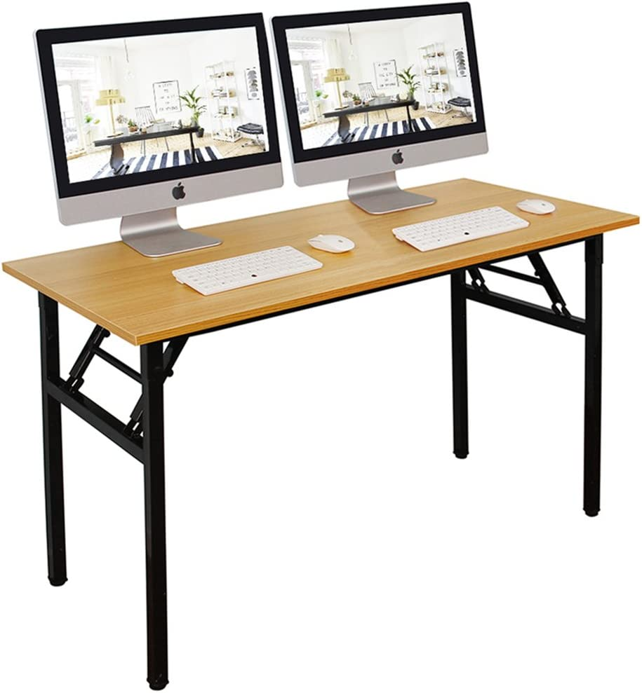 DlandHome 55 inches Folding Table Computer Desk Portable Table Activity Table Conference Table Home Office Desk, Fully Assembled Teak DND-ND5-140TB