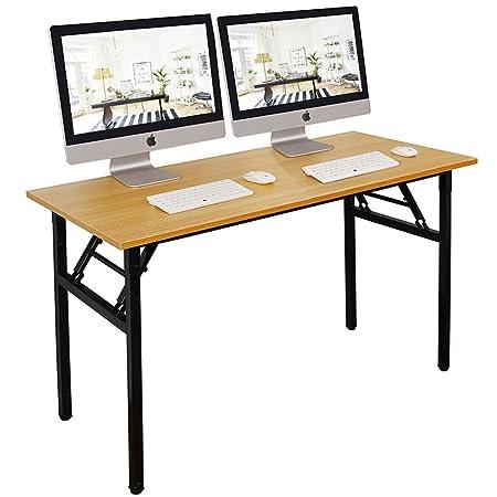 DlandHome Escritorios Mesa Plegable de Ordenador Escritorio de Oficina Mesa de Estudio Puesto de Trabajo Mesa de Despacho, 120x60cm, Teca Negro