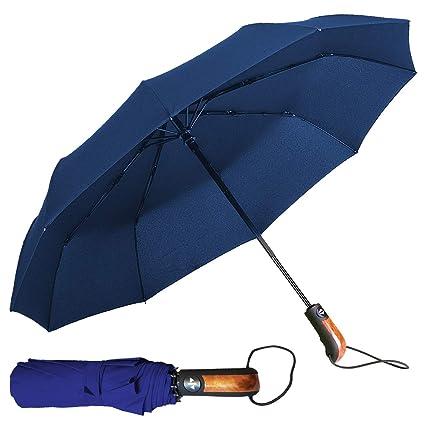 Yourway Sweden Paraguas Plegable Automático Antiviento | 10 Costillas Paraguas Compacto Resistente al Viento, Teflon 190T Canopy 140km/h, Mango ...