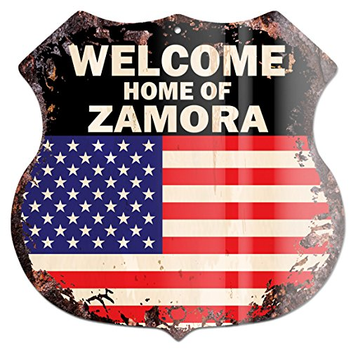 América Bandera Bienvenido a casa de familia de Zamora Nombre Chic Sign Retro rústico 29,2x 29,2cm Escudo Placa de...