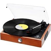 JORLAI Vintage Turntable 3-Speed Record Player with Speakers (Orange)