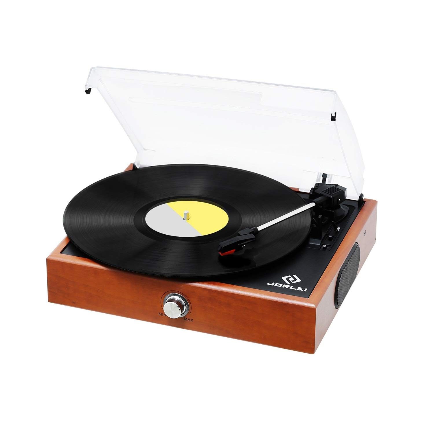 JORLAI Record Player, Turntable for Vinyl Records, 33 45 78 Record Player with Speakers, Vinyl to MP3 Recording, RCA Output, 3.5mm AUX Input, Volume Control - Wood