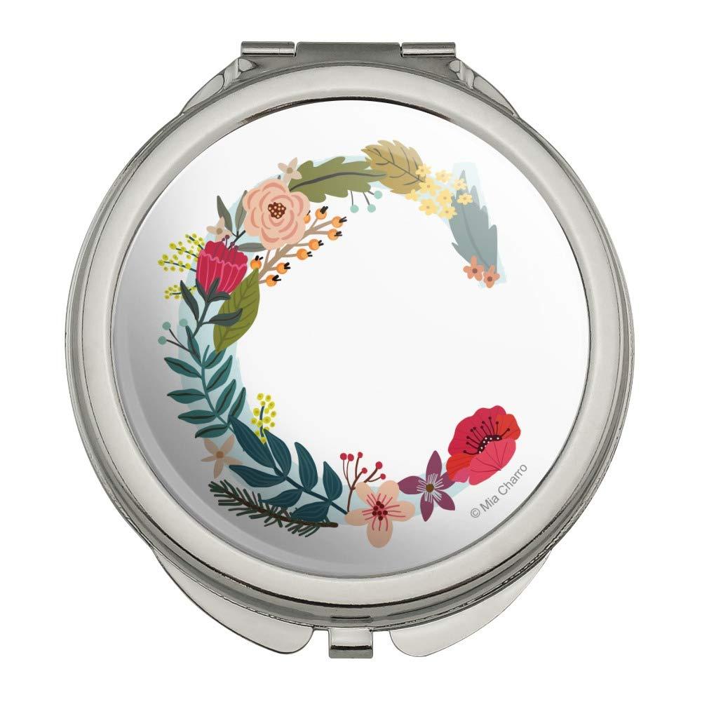 Letter C Floral Monogram Initial Compact Travel Purse Handbag Makeup Mirror