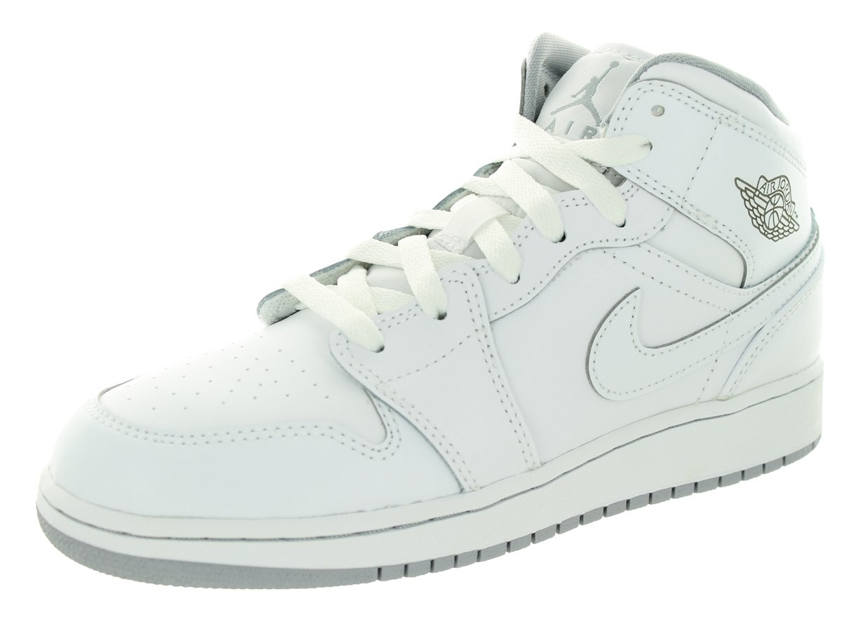 Jordan Nike Kids Air 1 Mid Bg White/White/Wolf Grey Basketball Shoe 4 Kids US
