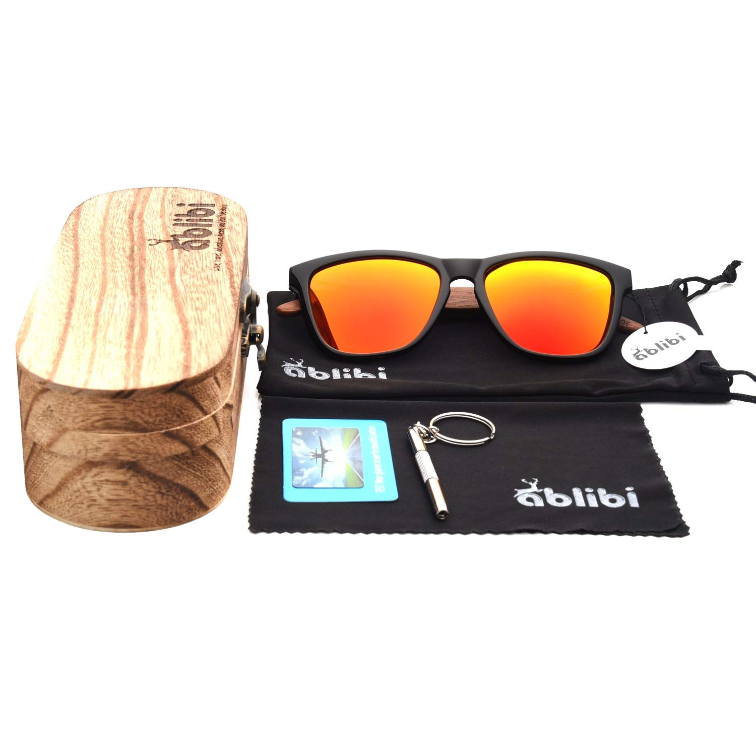 Wooden Sunglasses,Ablibi Polarized Mens Wood Sunglasses Handmade Lightweight Shades with Wooden Box(golden)