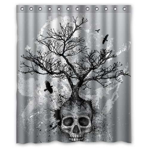 FMSHPON Creative Skull Tree Black Eagle Shower Curtain 60 x 72 -