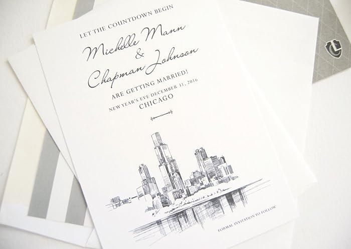 amazon com chicago skyline save the dates set of 25 handmade