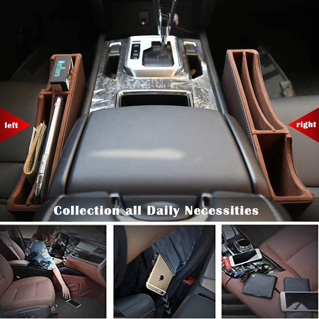 Car Pocket Interior Accessories N // A Maodaner Universal 2PCS Car Seat Gap Filler Premium PU Leather Seat Console Organizer Mocha Seat Crevice Storage Box for Smartphone Coin Wallet Key