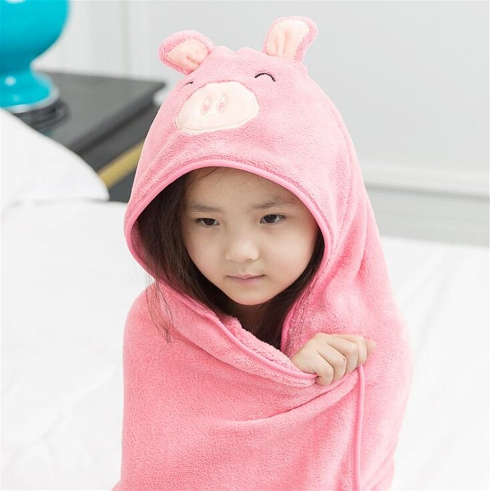 Cartoon Pig Hooded Bathrobe Coral Velvet Children Kid Boy Girl Cloak Swimwear Beach Towel Bathrobe Towelling (Color : Pink) Kuiduo