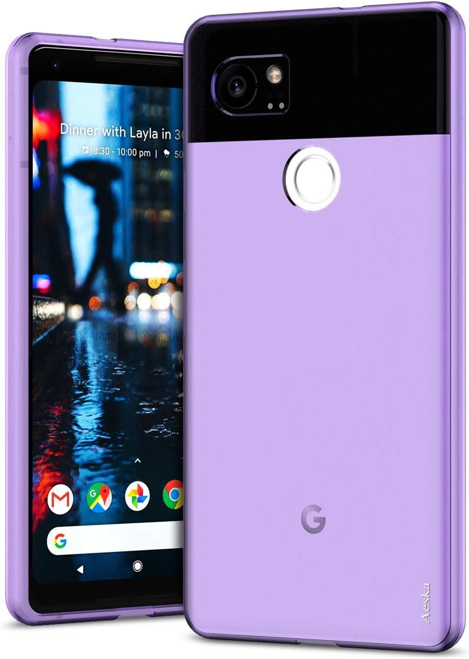 Aeska Google Pixel 2 XL Case, Ultra [Slim Thin] Flexible Clear Soft TPU [Anti-Scratches] Gel Premium Rubber Transparent Skin Silicone Protective Case Cover for Google Pixel 2 XL (Purple)
