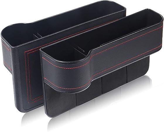 Globaldream Auto Aufbewahrungsbox 2 Stücke Universal Auto Seat Gap Organizer Konsole Seitentasche Ledersitz Spalt Aufbewahrungsbox Für Brieftasche Telefon Münzen Zigarettenschlüssel Schwarz Auto