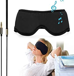 "Sleepace Sleep Headphones Comfortable Washable Eye Mask w' Ultra Thin Speakers for Sleep Sideways, Perfect for Air Travel, Relaxation, Meditation, Insomnia-Black L(22.44""~23.23"")"