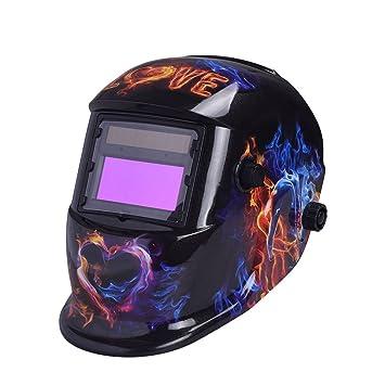 Hanbaili Casco de soldadura, amor ardiente 1638A Soldadura de oscurecimiento del soldador Casco Soldador Máscaras Protección UV Protección IR: Amazon.es: ...
