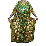 Mogul Womens Ada Caftan Kimono V Neck Side Split Beach long Maxi Kaftan Dress One Size