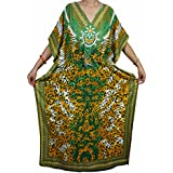 Mogul Womens Caftan Kimono V Neck Side Split Beach Long Maxi Kaftan Dress One Size